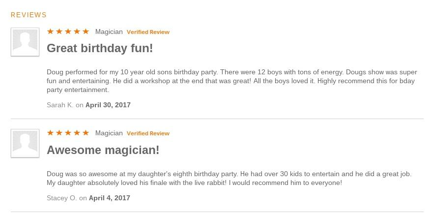 Reviews of Doug's magic show by happy parents!