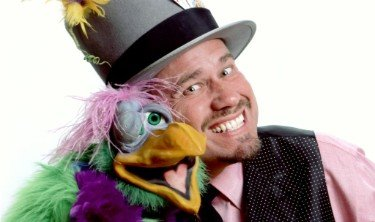 Magician Doug Hoover and his parrot puppet Harvey